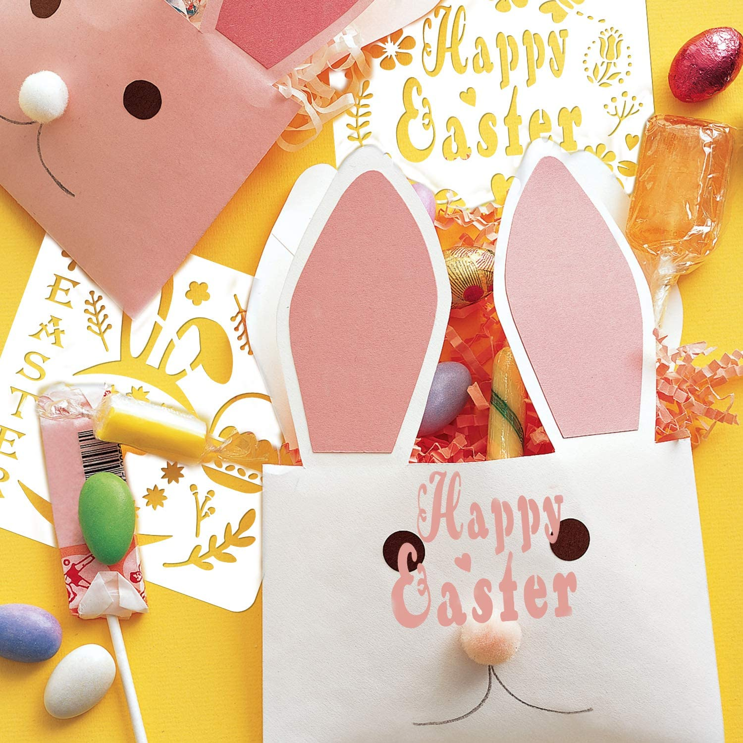 Washable Plastic Painting Stencils Easter Decorations Templates Eggs Bunny Stencils for Easter Party Kids Gifts Painting On Wood Cards Window Crafts Qpout 16Pack Easter Drawing Stencils Templates