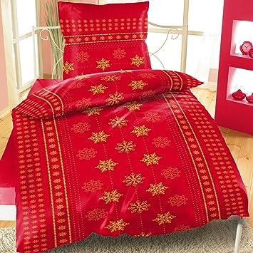 Teddyplüsch Bettwäsche 135x200cm 2 Teilig Weihnachten Rot Bertels