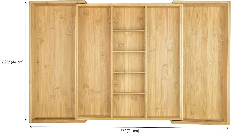 KitchenEdge Organizador de caj/ón de cocina ajustable para utensilios y accesorios 100/% bamb/ú