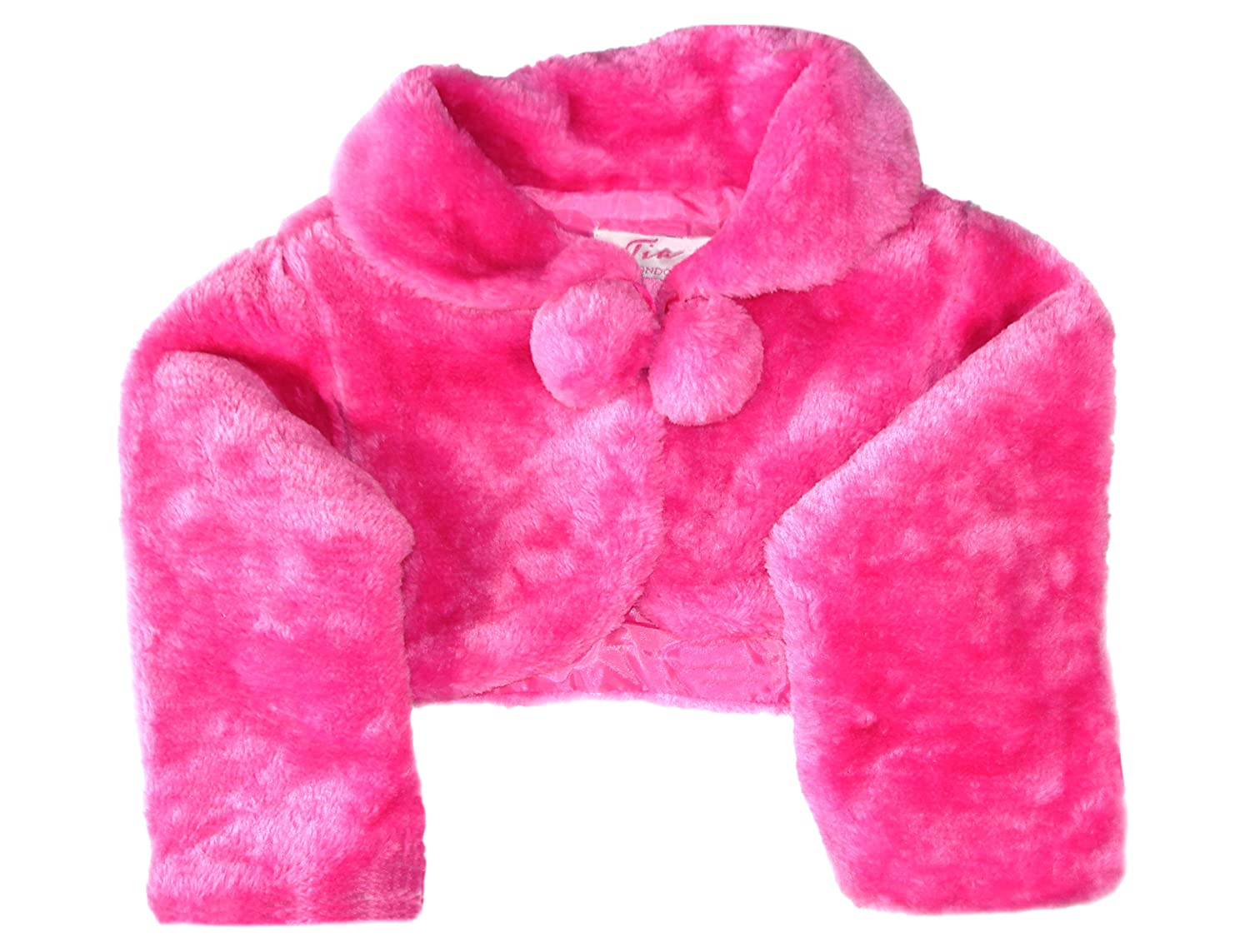 Aelstores - Girls Longsleeve Fur Bolero Shrug For Special Occasion Pom Pom With Ribbon Fastening 0 1 2 3 4 5 6 7 8 9 10 11 12 Years