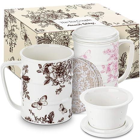 1224e73dd70 Amazon.com | The Tea Couple Tea Infuser Mug (Set of 2) 14 oz.Vintage ...