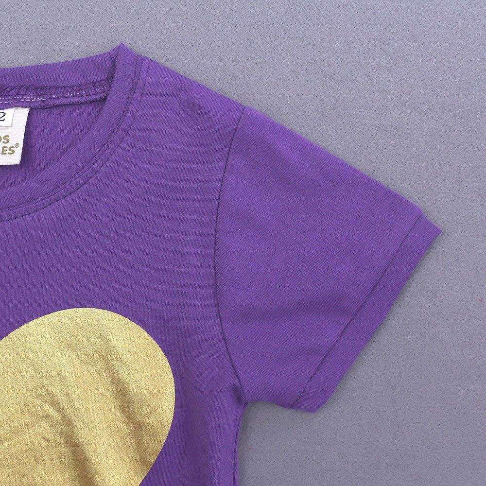 Summer Pajama Sets For Kids Girls,Baby Girls Cotton Tee Tops + Pajama Pants Girls Homewear Set(Purple,3 Years) by Wesracia (Image #6)