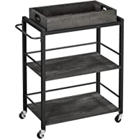 VASAGLE Bar Cart, Kitchen Serving Cart, Utility Cart with Wheels and Handle, Universal Casters with Brakes, Leveling…