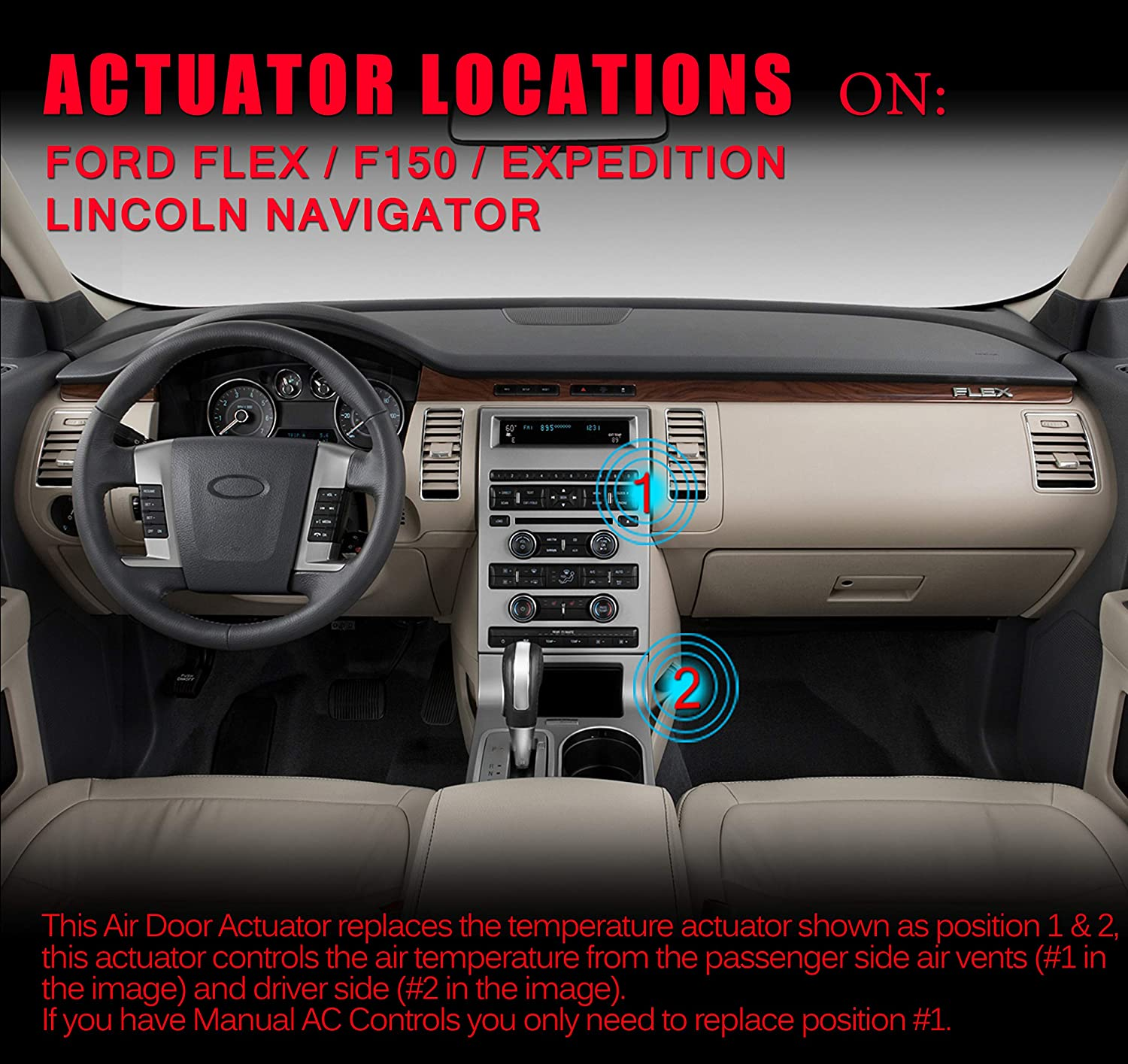 Heater Blend Door Actuator Fits Ford Expedition Lincoln 2009 Flex Hvac Control Wiring Diagrams Navigator 2010 2017 F 150 2014 Air Motor Replace Dl3z19e616a Yh1933