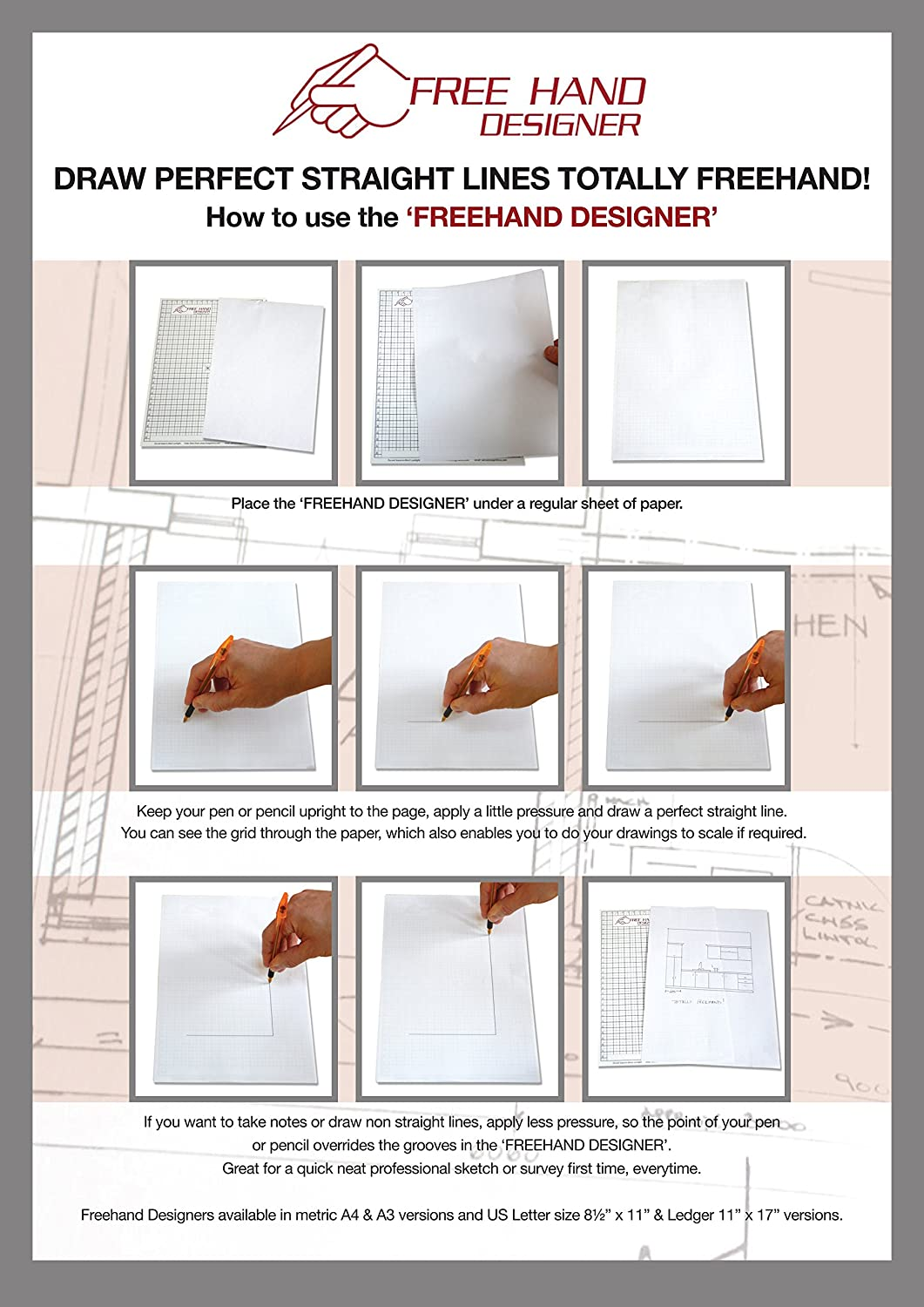 2 X A4 Grid Type Freehand Designer Sheets Draw Perfect Straight