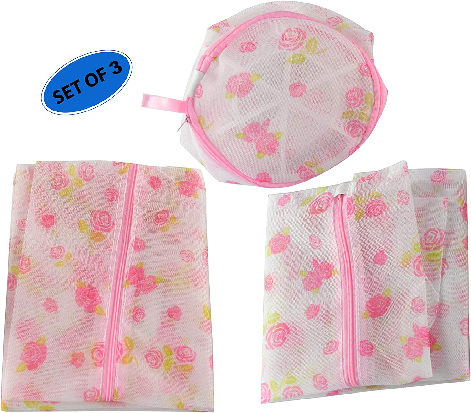 Home-X Set of 3 Mesh Laundry Bags, Delicate Clothes Wash Bag, Lingerie Bags, Baby, Socks, Underwear, Clothing Bags for Travel-Roses Print-3 Sizes