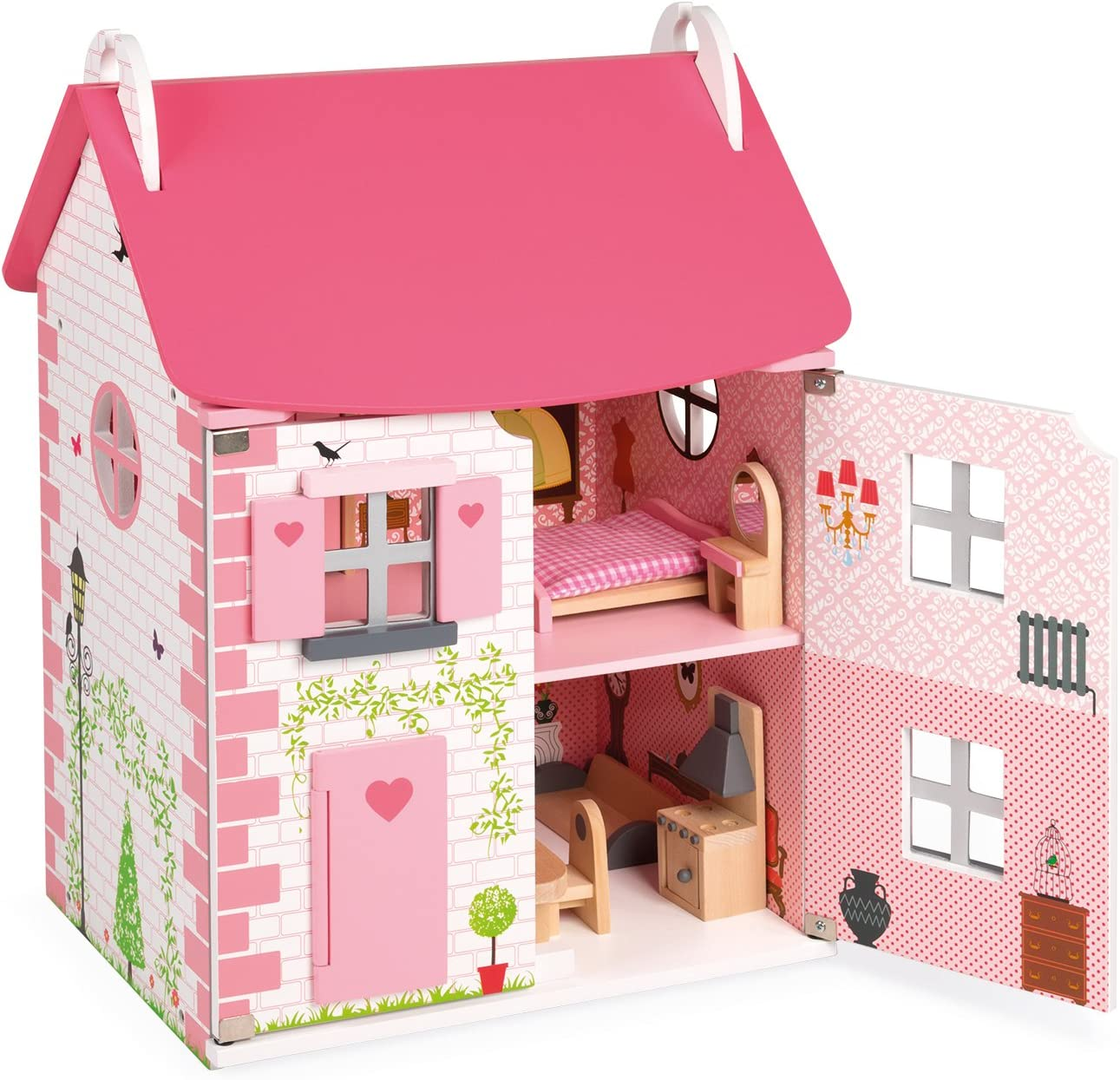 Janod Mademoiselle Doll's House – 3-Level Classic Wooden Dollhouse with Furniture – Store Everything Inside and Transport Everywhere You Go – Develops Role Play and Imaginative Skills – Ages 3+ Years