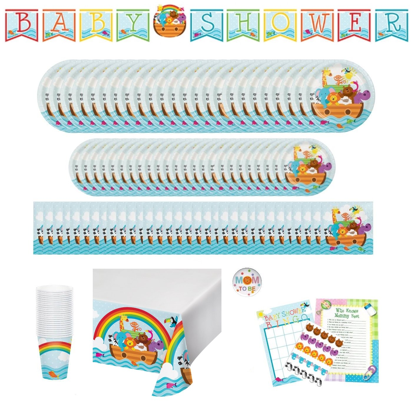 Noahs Ark Baby Shower Party Supplies: Paper Plates, Napkins, Cups, Tablecloth, Banner and Games Bundle for 24 Guests by Creative Converting, Oriental Trading, Whymsical Doodles