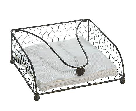 Amazon Com Creative Co Op Square Grey Wire Napkin Holder Kitchen