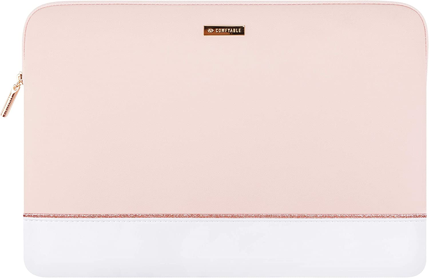 Comfyable Laptop Sleeve for 13-13.3-Inch MacBook Air & MacBook Pro - Waterproof Leather Cute Pink & White Computer Case
