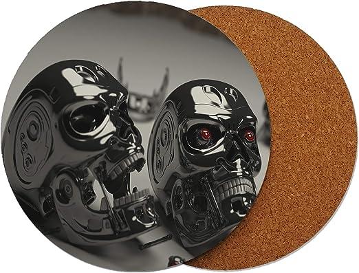 Terminator Skull Caps - Posavasos (madera, 95 x 95 mm), diseño de ...