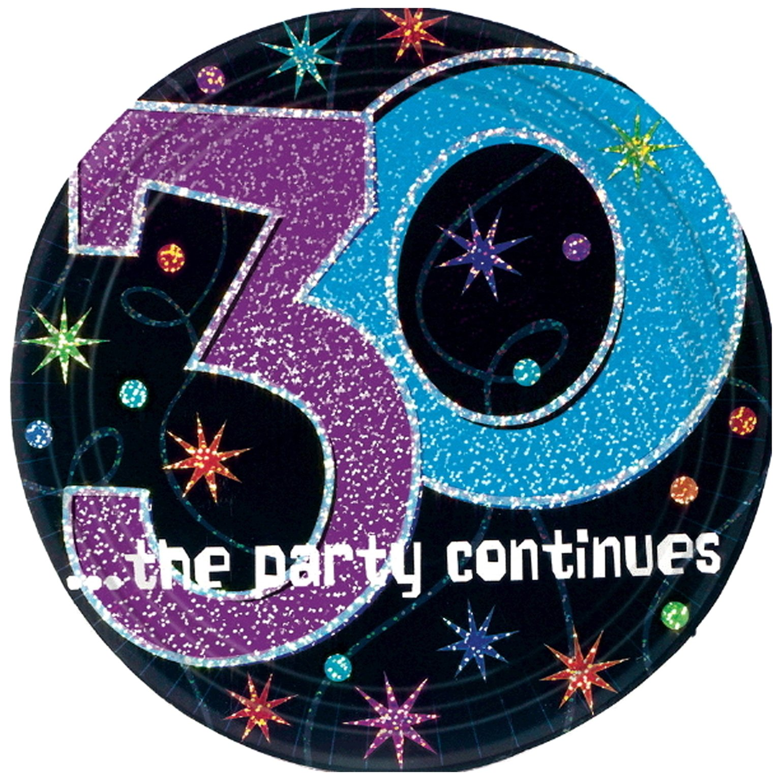 amscan 30 ...The Party Continues 7'' Prismatic Plates, Party Favor, 96 Ct.