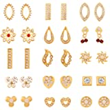 Touchstone White, Red and Gold Crystals Alloy Metal Earrings for Women(Combo of 15)