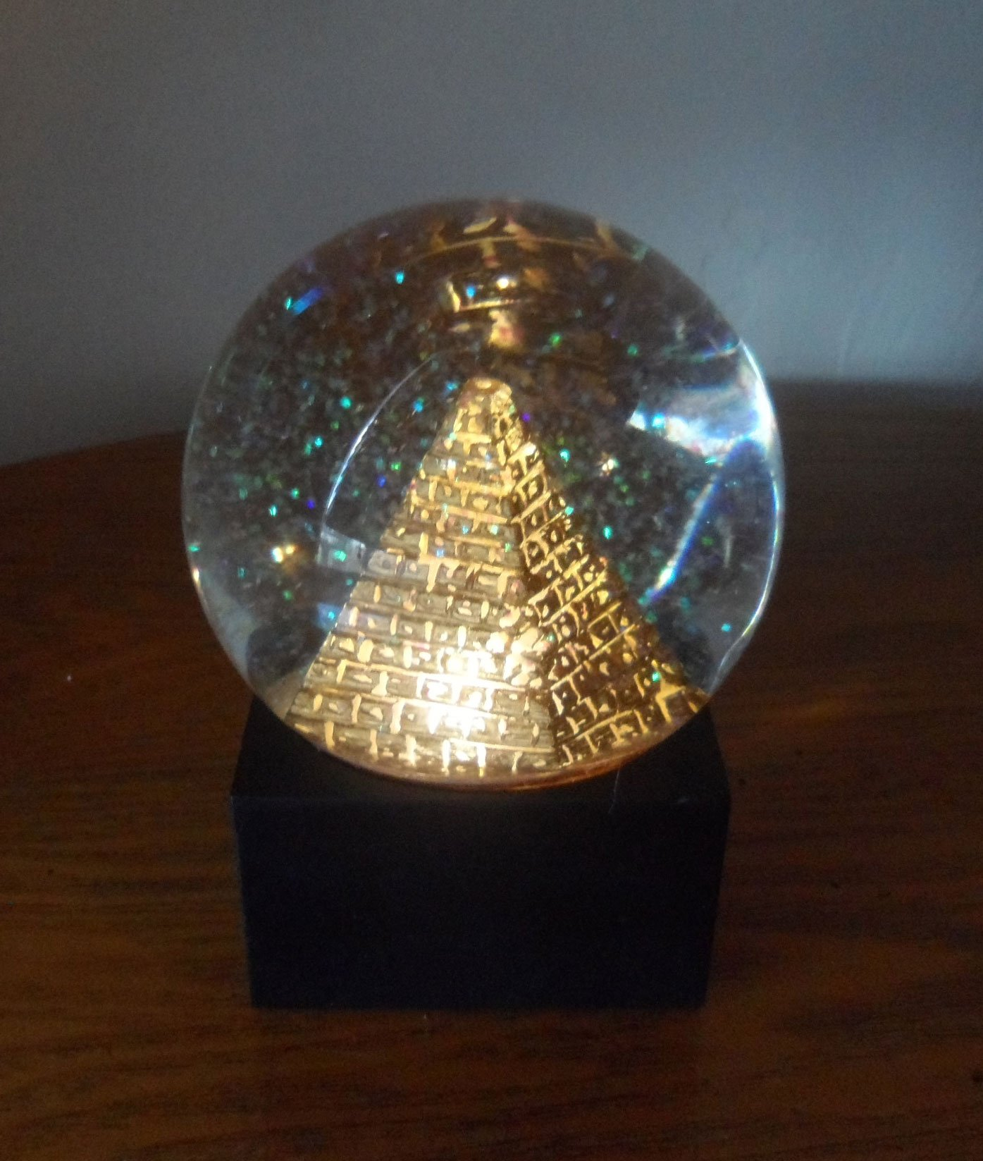 5 Inch LED Clear Black and Gold Colored Pyramid Water Globe