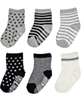 TotMart Toddler Assorted Non Skid Ankle Cotton Socks, 6 Pack