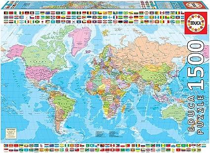 Educa Borras - Genuine Puzzles, Puzzle 1.500 piezas, Mapamundi ...