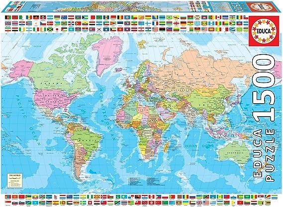 Educa Borras - Genuine Puzzles, Puzzle 1.500 piezas, Mapamundi político (18500): Amazon.es: Juguetes y juegos