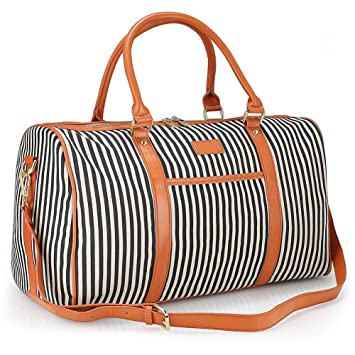 Women Weekender Bag,ZYSY Canvas Large Capacity Travel Holdalls Weekend  Overnight Bag Travel Duffel Tote e6606f6048