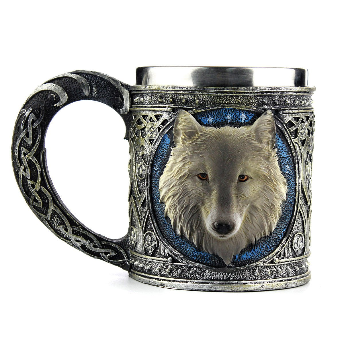Stainless Steel Wolf Goblet, EZESO Resin 3D Wolf Coffee Cup Stainless Steel Travel Tea Wine Beer Mugs(Goblet) EZESO.CO.LTD COMINHKPR122011