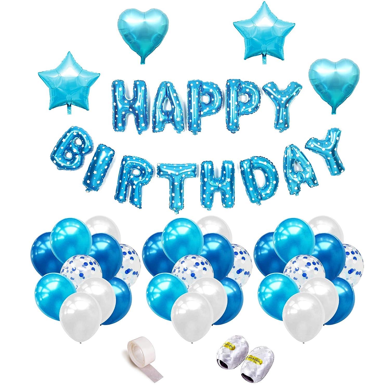 iZoeL 誕生日デコレーション 男の子 ハッピーバースデー バナー ブルー 紙吹雪 ハート バルーン   B07K6KBRNZ