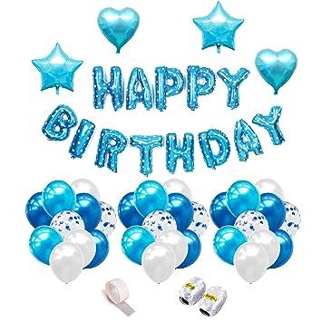 iZoeL Decoración Cumpleaños, Pancarta de Happy Birthday Azul, Globos de Estrella, Corazon, 30pcs Globos Perlados, Azul, 10 Globus de Confeti - ...