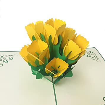 Amazon yellow tulip wow 3d flower pop up greeting card for yellow tulip wow 3d flower pop up greeting card for all occasions love m4hsunfo