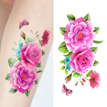 e7bfd29fe Amazon.com : Oottati Women Floral Arm Chest Temporary Tattoo Butterfly  Mandala Flowers (2 Sheets) : Beauty