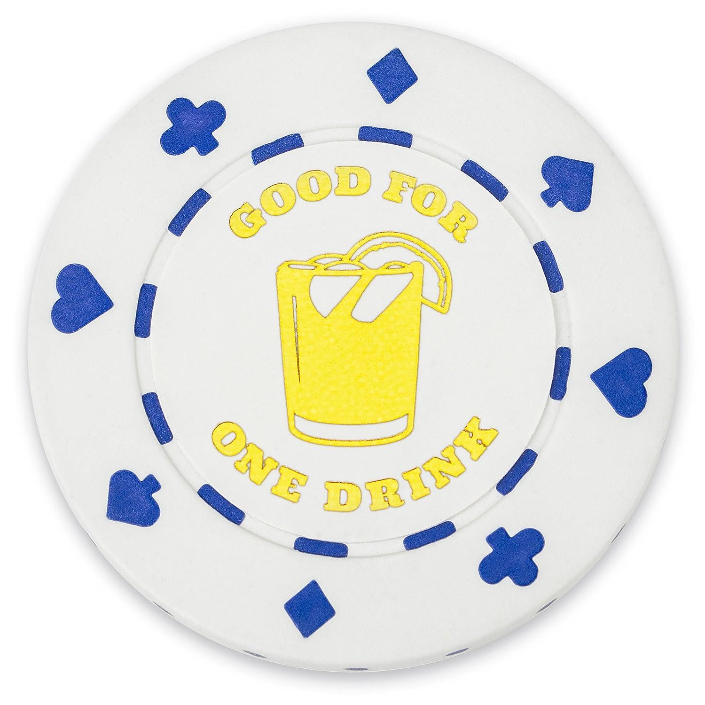Brybelly - Confezione da 25 fiches da Poker con Scritta 1 Drink