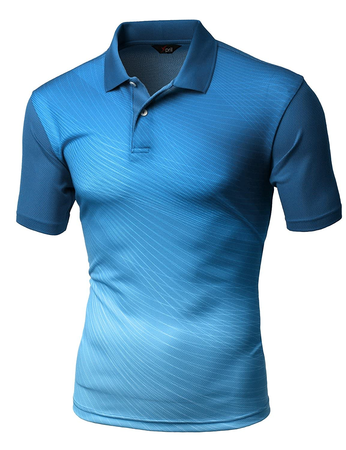 Xpril Men\'s Cool Max Fabric Sporty Design Printed Polo T-Shirt