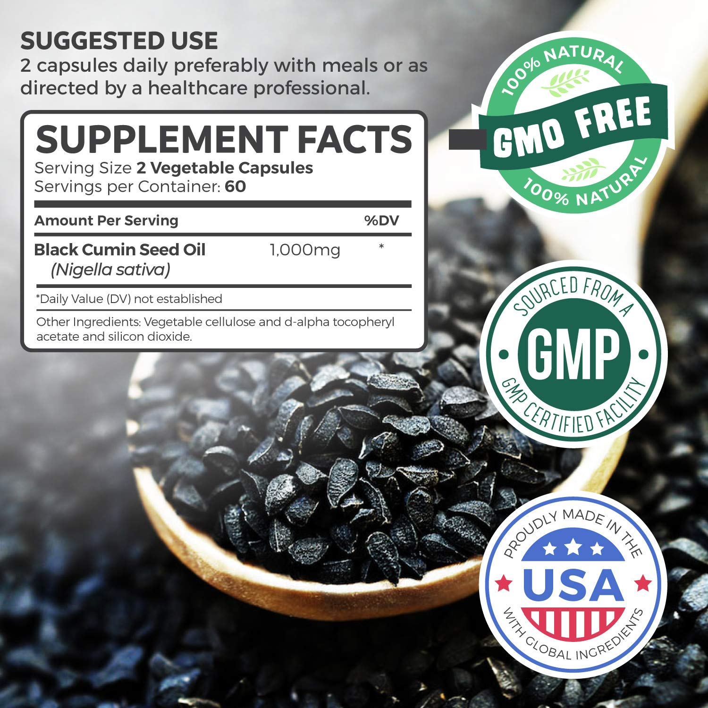 Black Seed Oil - 120 Softgel Capsules (Non-GMO & Vegetarian) Premium  Cold-Pressed