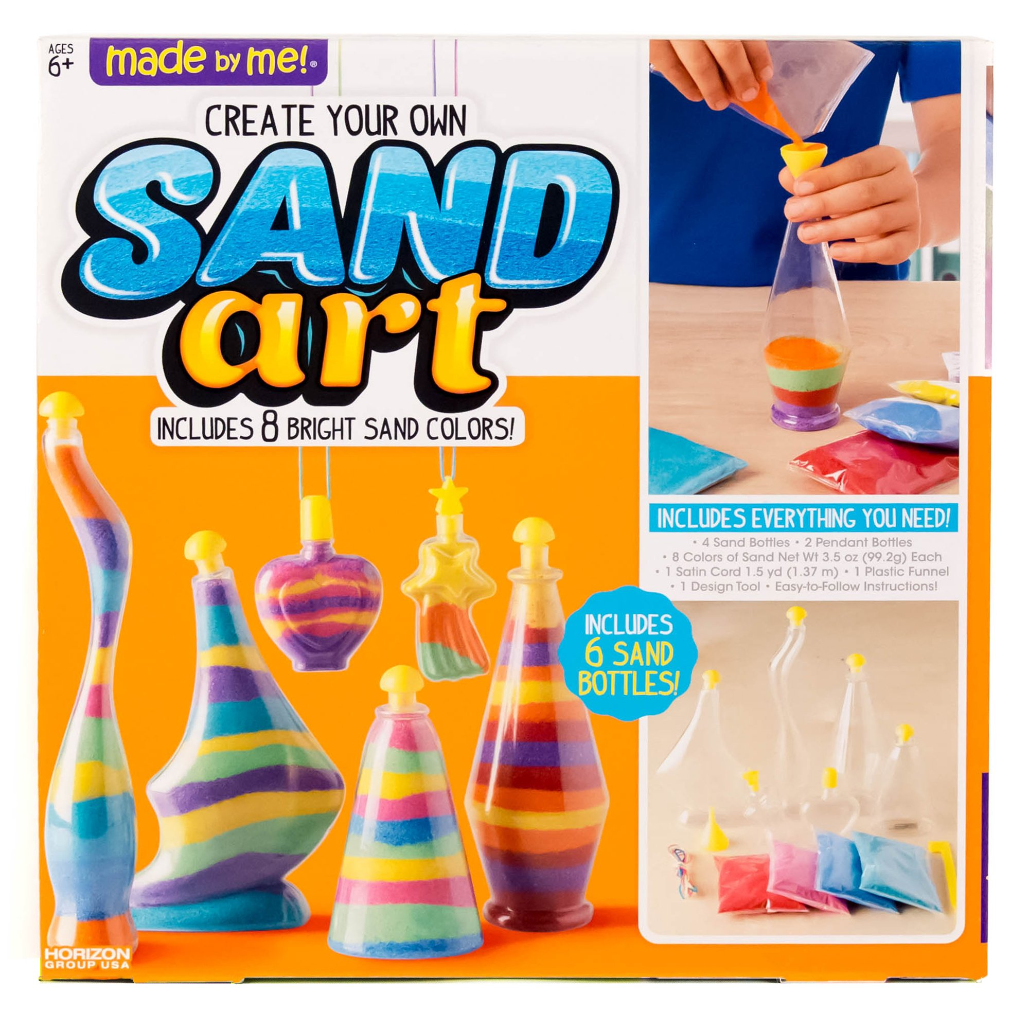 Made By Me Create Your Own Sand Art by Horizon Group USA, Includes 4 Sand Bottles & 2 Pendent Bottles with 8 Bright Sand Colors, Multicolored by Made By Me