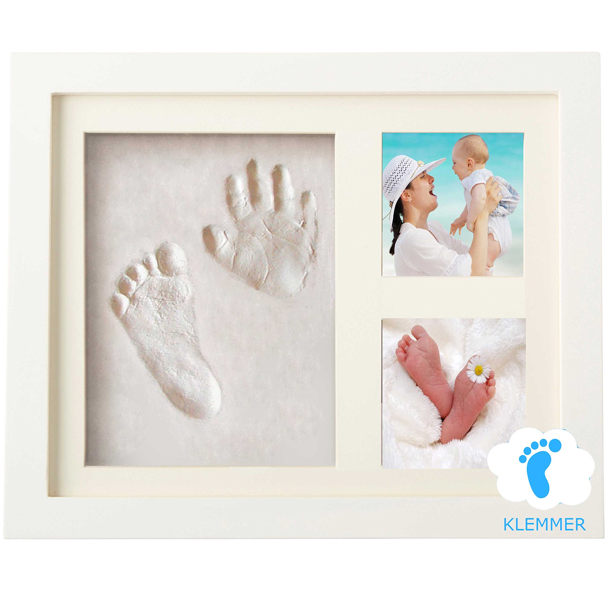 Baby Handprint And Footprint Kit by Klemmer, SAFE AND EASY TO USE! NON TOXIC CLAY! Perfect for Baby Shower, Newborn Baby Boy and Baby Girl, Keepsake Box And Photo Frame