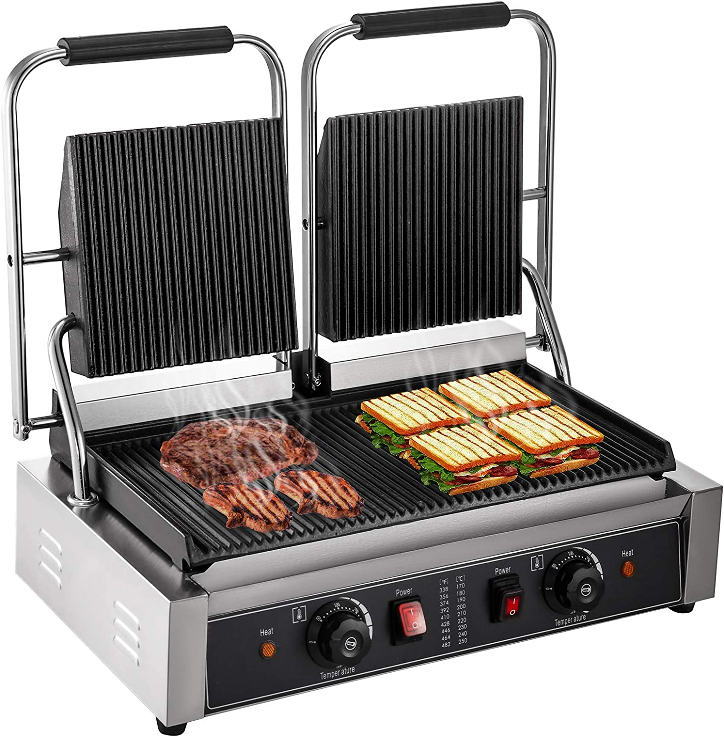 Happybuy 110V Commercial Sandwich Panini Press Grill 2X1800W Temperature Control 122°F-572°F Commercial Panini Grill Non Stick Surface for Hamburgers Steaks Bacons (Double Grooved Plates)