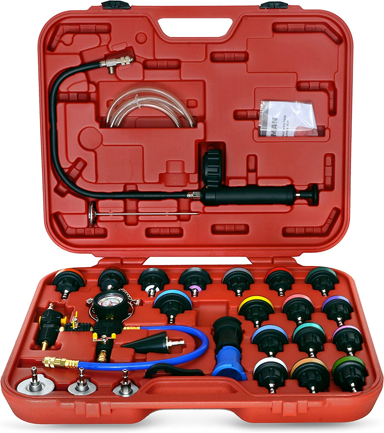 Master Cooling System Test and Purge Auto Kit by Steelman, 27-Piece Kit, Leak and Pressure Test, Vacuum Purge Kit, Storage Case Included