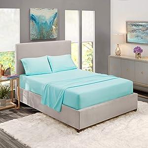 Queen Sheets - Bed Sheets Queen Size – Deep Pocket Hotel Sheets – Cool Sheets - Luxury 1800 Sheets Hotel Bedding Microfiber Sheets - Soft Sheets – Queen - Light Baby Blue