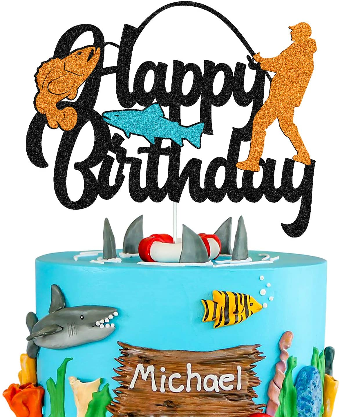 Fish Cake Topper Happy Birthday Sign Cake Decorations for Man Kids Boy Fisherman Gone Fishing Themed Birthday Party Supplies Black Glitter Decor