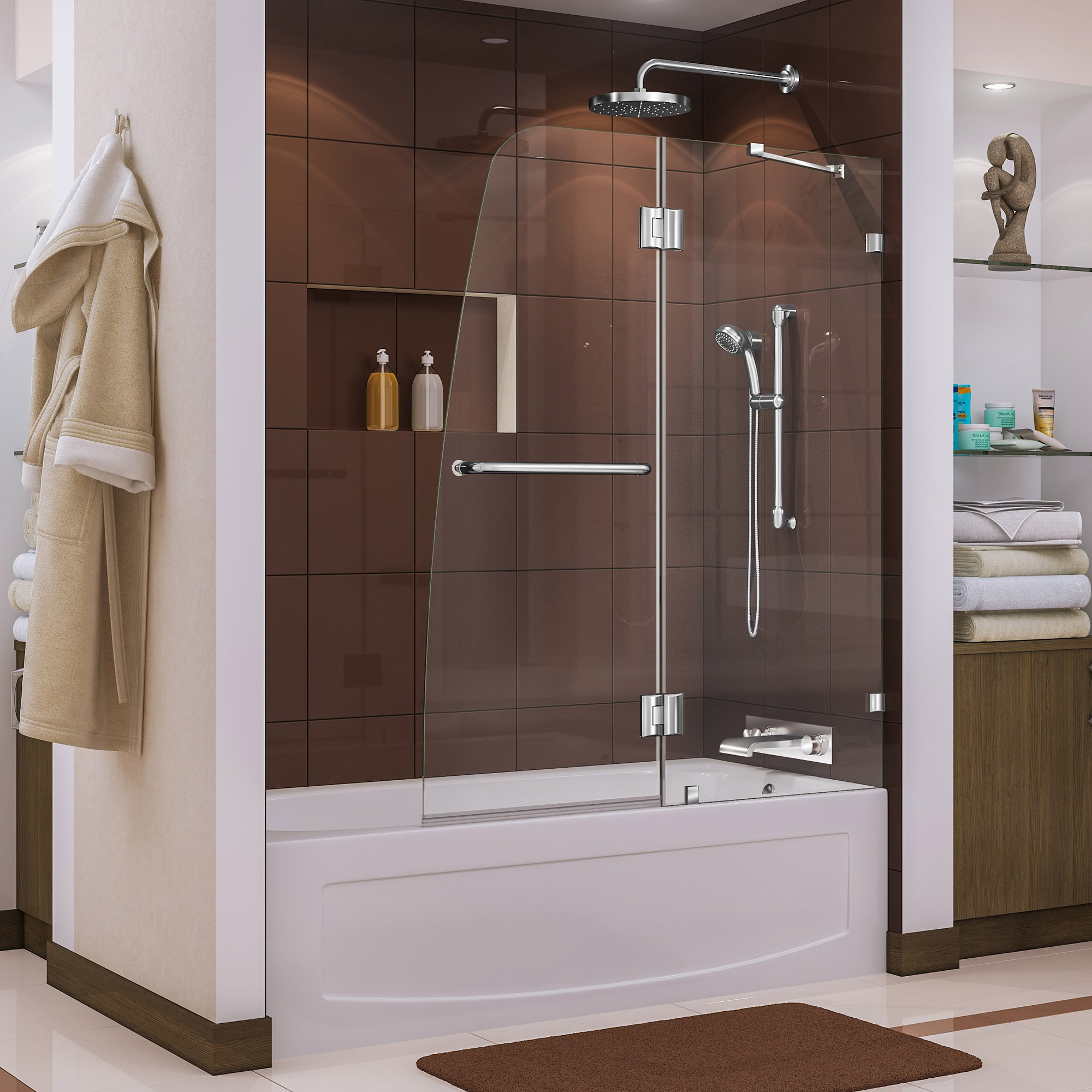 DreamLine Aqua Lux 48 in. W x 58 in. H Frameless Hinged Tub Door in Chrome, SHDR-3348588-01 by DreamLine