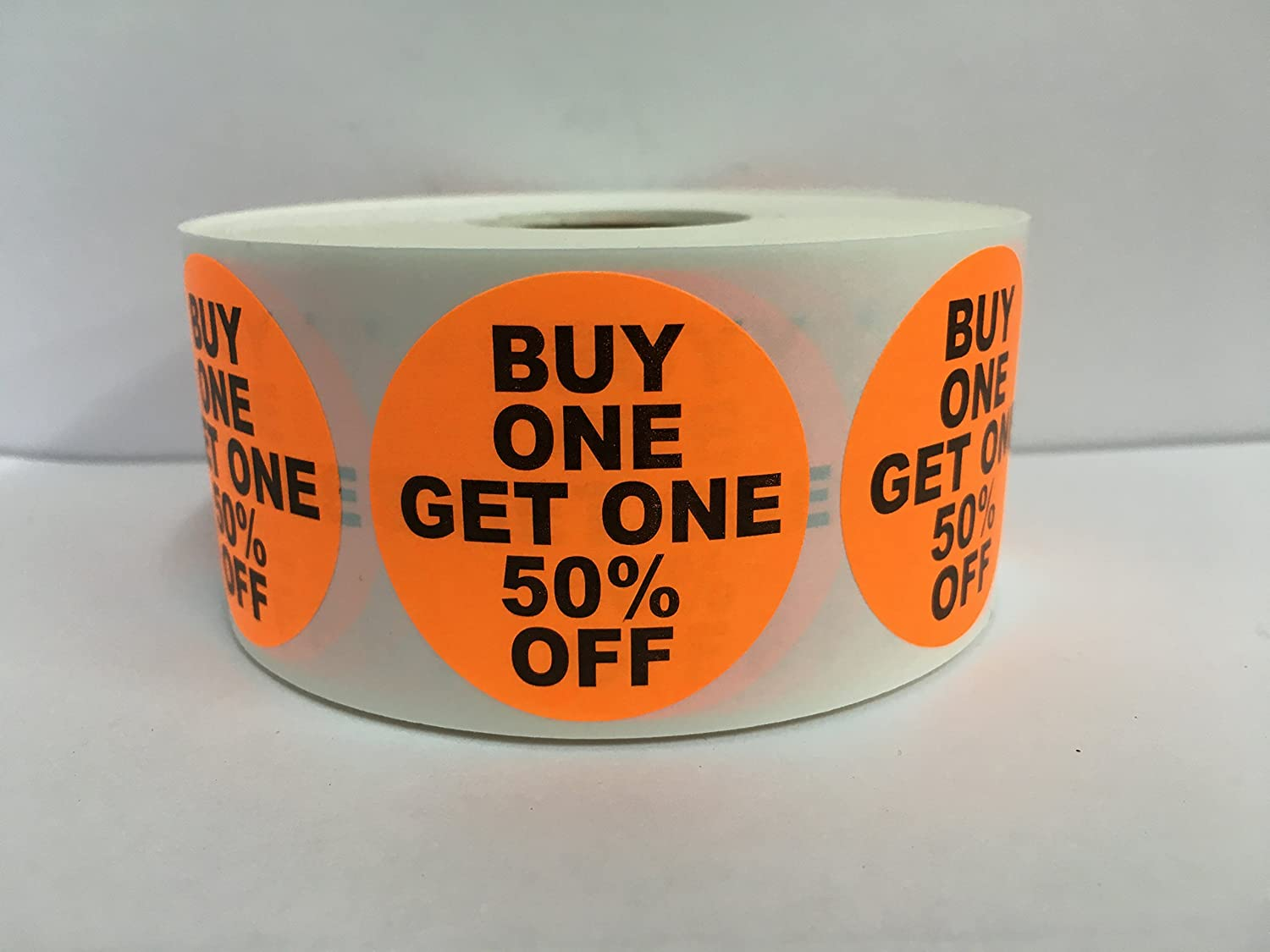 1000 Labels 1.5' Round Orange BUY ONE GET ONE 50% OFF Point of Sale Discount Pricing Retail Stickers 1 Roll Labels and More