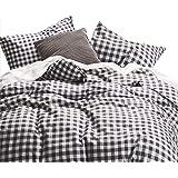 Wake In Cloud - Checker Comforter Set, Gray Grey Buffalo Check Plaid Geometric Modern Pattern Printed, 100% Cotton…