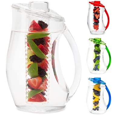 Water Infuser Pitcher & Gourmet Recipe eBook (Emailed)   BPA Free Fruit Infusion Pitcher with Glass Like Appearance and Largest 3+ Liter Capacity for Amazing Spa Water (Clear)