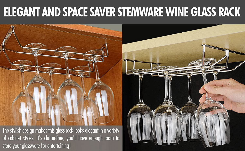 2 Pcs Under Cabinet Wine Glass Stemware Holder Single Row 11 Inch