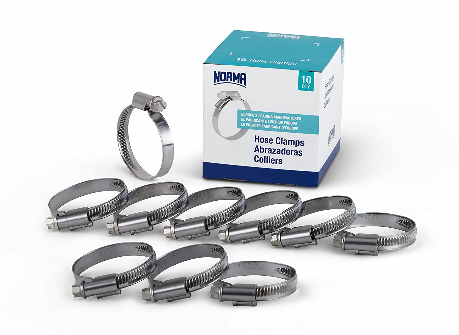 Stainless Steel Worm Drive Hose Clips 40-80mm Pack of 10