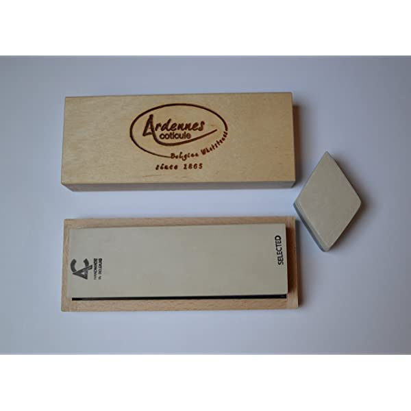 """Whetstone Coticule premium natural sharpening stone with wooden box and slurry stone 6/"""" x 1-1//2/"""" 150 x 40 mm"""