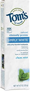 product image for Tom's of Maine Natural Simply White Fluoride Toothpaste, Clean Mint, 4.7 Ounce
