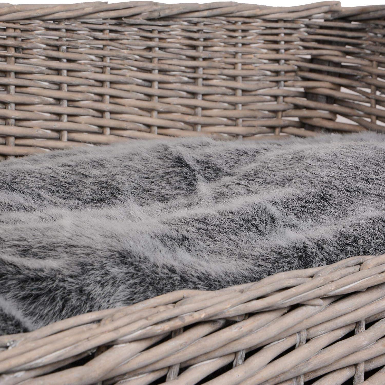 RM E-Commerce Cama para perros de mimbre rectangular con coj/ín gris para perros grandes y peque/ños 88 cm de ancho