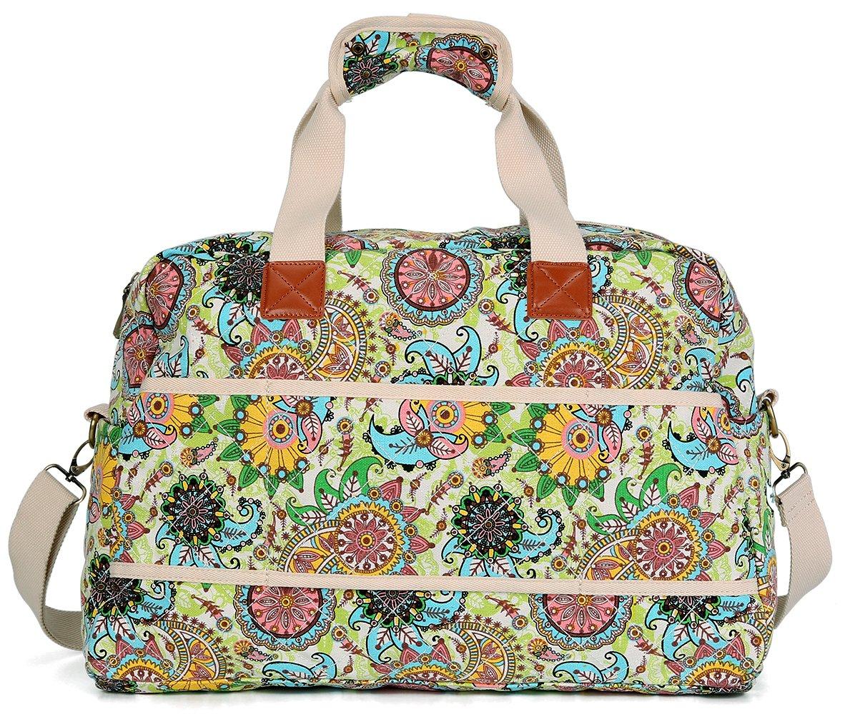 Malirona Canvas Overnight Bag Women Weekender Bag Carry On Travel Duffel Bag Floral Design (Flower) by Malirona (Image #9)