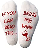 """Atlecko Funny """"Bring Me Wine"""" Socks Wein Socken For Christmas - Thick Cotton, Washable - Perfect Women Birthday Present, House Warming Suprise, Party Gift Idea (Mum, Grandma, Aunt, Wife)"""