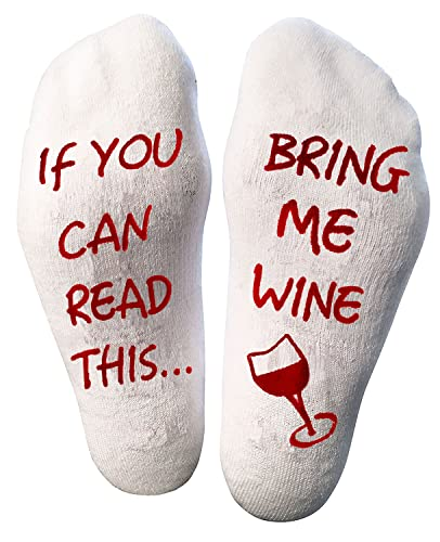 Atlecko Funny - Bring Me Wine Socks, MUST HAVE for 2018 - Thick Cotton, Washable - Perfect Women Birthday Present, House Warming Suprise, Party Gift Idea (Mum, Grandma, Aunt, Wife)