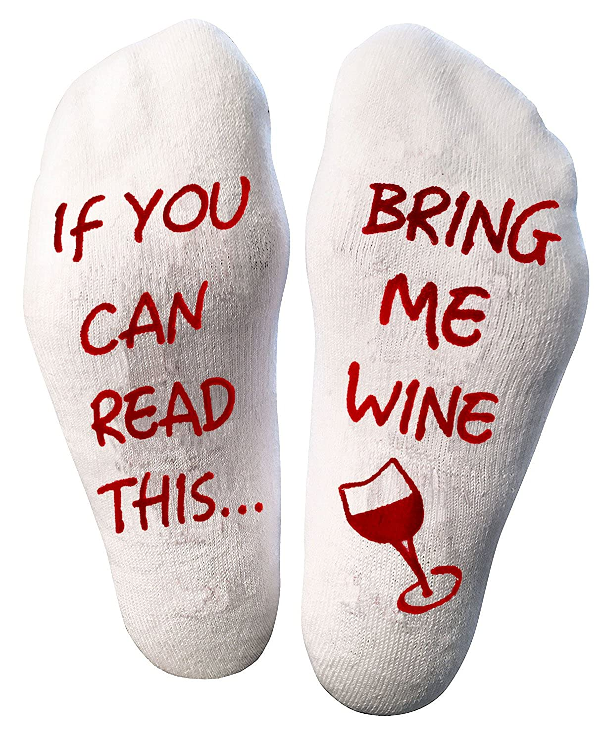 Atlecko Funny - Bring Me Wine Socks, MUST HAVE for 2018 - Thick Cotton, Washable - Perfect Christmas gifts for Women Birthday Present, House Warming, 50th Party Gift Idea (Mum, Grandma, Aunt, Wife)
