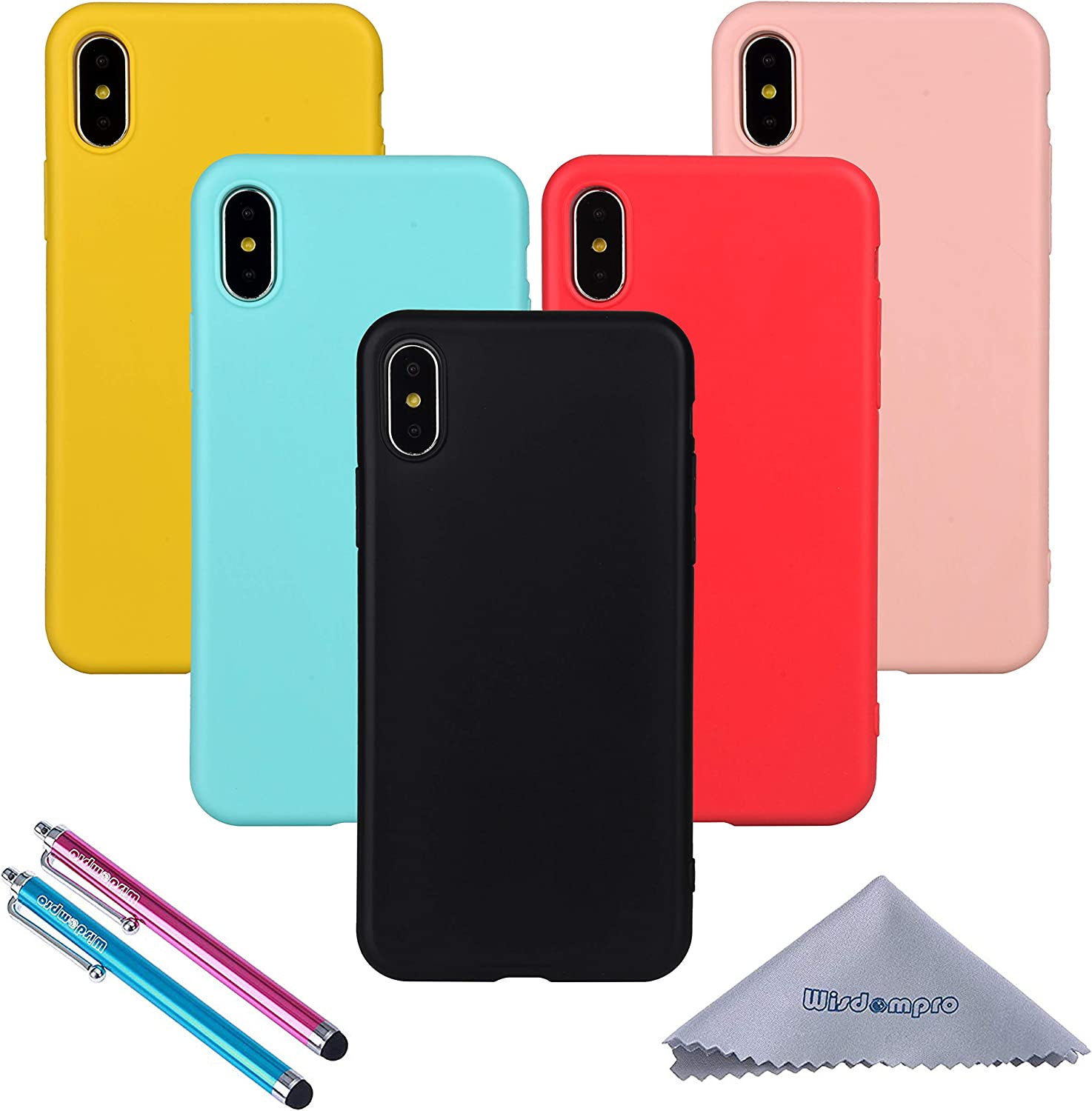 Wisdompro iPhone X Case, Bundle of 5 Pack Extra Thin Slim Jelly Soft TPU Gel Protective Case Cover for Apple iPhone X (Black, Aqua Blue, Naked Skin Pink, Yellow, Red)- Candy Color